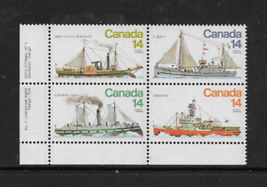 1978 CANADA - SHIPS - FULL SET OF FOUR IN CORNER BLOCK WITH INSCRIPTIONS - MNH.