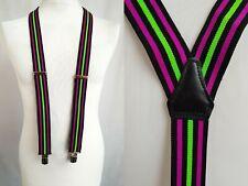 Neon Pink/ Green/ Black Striped Y Fit Clip On Braces Suspenders Geek X14
