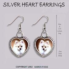Pomeranian Dog White Pom - Heart Earrings Ornate Tibetan Silver