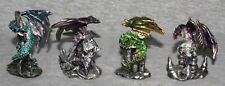 Miniature Dragons Statue Fantasy Mythical Gothic Magic Figure Ornament Set 4 -B