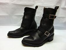 Harley Davidson Made in Italy Black Leather Women's 6 B Double Belted Ankle Boot