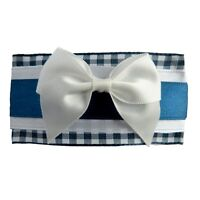 pince cheveux vichy rétro rockabilly pin up bleu marine blanc noeud satin FRANCE