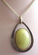 pendentif bijou vintage goutte cabochon pierre vert opaline couleur argent 3519
