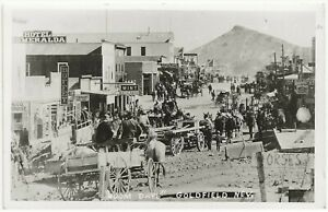 """""""Boom Days"""" Busy Early Scene in Goldfield NV RP Postcard"""
