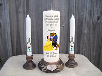 Personalised Wedding Unity Candles Disney beauty & The Beast  Gift Centrepiece