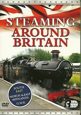 STEAMING AROUND BRITAIN - 3 DVD BOX SET - SOUTH EAST, GWR, NORTH & EAST MIDLANDS