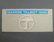 BROCHURE PUBLICITAIRE TALBOT 1982 AUTOMOBILE DEPLIANT CAR TRUCK
