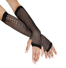 Gothic Long Black Fishnet Fingerless Lace Girl Burlesque Costume Gloves