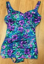Maxine of Hollywood One Piece Swimsuit Women's 10/12 Floral Shirred Front Retro