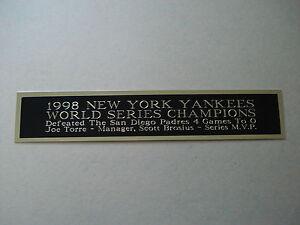 New York Yankees 1998 World Series Nameplate For A Baseball Photo Case 1.5 X 8