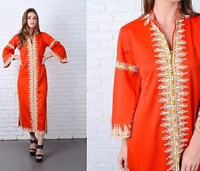 Vintage 70s Red Maxi Dress Ethnic Embroidered White long Sleeve Mod Large L