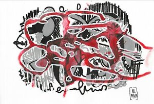 wonderful artwork acrylic on paper, abstract red forms