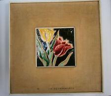 VINTAGE UNIQUE JAPAN PAINTING WALL DECORATION FLOWERS CLOISONNE ENAMEL 1950's