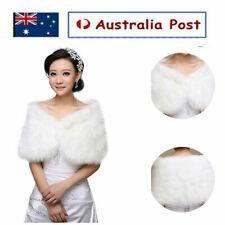Women White Soft Fur Plush Bridal Wedding Shawl Cape Jacket Wrap Winter Shrug