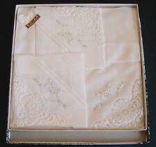 VINTAGE BOX OF 3 SWISS WHITE LADIES HANKIES HANDKERCHIEFS  MADE IN SWITZERLAND