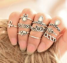 Party Boutique Uk Set 10 Items Silver Stackable Rings Crystal Boho Festival