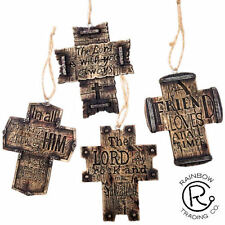 INSPIRATIONAL WOODEN CROSS CHRISTMAS TREE ORNAMENTS  WESTERN DECOR LOT OF 4