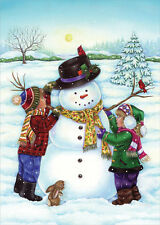 Two Kids Making Snowman Box of 18 Christmas Cards by Designer Greetings