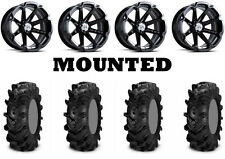 Kit 4 ITP Cryptid Tires 30x10-14 on MSA M12 Diesel Black Wheels CAN