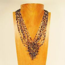 "16"" Black/Clear Multi Color Stone Chip Cluster Handmade Seed Bead Necklace"