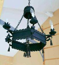 Vintage Medieval Gothic Ornate Black Wrought Iron 6 Light Hanging Chandelier