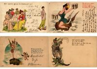 BEER HUMOR GERMANY EARLY LITHO 17 LITHORAPH POSTCARDS Pre-1900