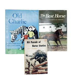 3 Vintage Horse Book Lot Scholastic SBS PB Hit Parade Horse Stories Old Charlie