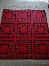 """Vintage Tablecloth Christmas Holiday Red Scandinavian Sweden Mid Century 36x33"""""""