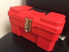 Red 14 Plastic Portable Tool Box With Metal Latches And Removable Tool Tray