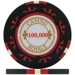 Crown Casino Royale 14g Poker Chips - Black $100,000 (Roll of 25)