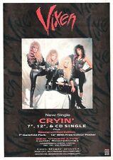 VIXEN Cryin'  UK magazine ADVERT / mini Poster 11x8 inches