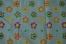 Fabric remnant Blue background with simple flowers . Free P&P