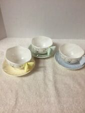 Set of 3 Lenox Butterfly Cup & Saucers Bumble Bee Lady Bug Butterfly Handle