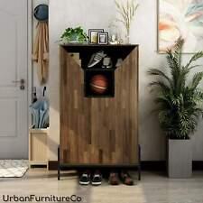 Rustic 8-shelf Shoe Cabinet Storage Wood Entryway Foyer Organizer Furniture New