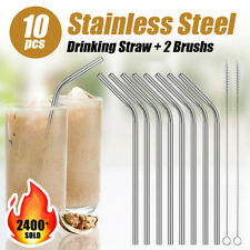 10pcs Stainless Steel Metal Drinking Straws Bent Reusable Washable Brush