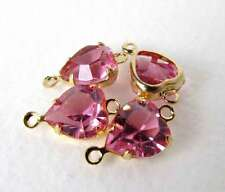 Vintage Made with Swarovski Rose Pink Heart Crystal Bead Drop Connector