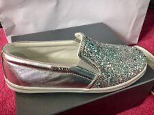 Auténtico Prada Plata Brillo Metálico Tenis Zapatos UK 3 EU 35
