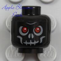 NEW Lego Skeleton Skull MINIFIG HEAD Black w/Evil Red Eyes - Halloween Monster