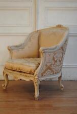 SALE ! Antique Vintage French Louis XV Bergere Armchair - Silk Damask