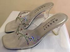 Beautiful Ladies Magrit Transparent Backless Sandals  Crystals Size Uk 5 Euro 38