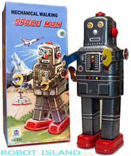 Mechanical Walking Spaceman Windup Robot Tin Toy with Cap