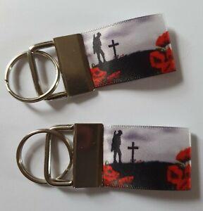 Lest We forget Military War Hero Remembrance Poppy Keyring Key fob Handmade