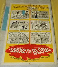 original A BUCKET OF BLOOD one-sheet poster (damaged) Dick Miller Roger Corman