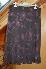 Papaya Brown Floral Skirt, Size 18, Pink and Purple Embroidered Flowers.