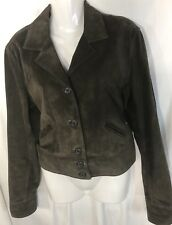 Ralph Lauren Women's Olive Green Suede Crop Jacket Size L