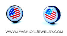 USA United States American Flag White Stud EARRINGS Unisex Fashion Jewelry 3/8""