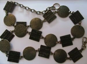 VINTAGE 1990'S CHAIN LINK BELT BRASS EFFECT ROUND AND SQUARE HAMMERED METAL