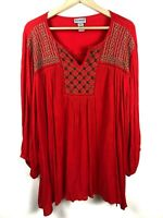 Catherines Top 2x Beaded Embroidered Popover Boho V-Neck Shirt Women Plus B17