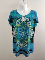 Women's Melissa Paige Blouse Multicolor Size L Large Short Sleeve Free Shipping