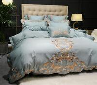 European Luxury Embroidery Satin Bedding Set Queen Cotton King Duvet Cover Sheet